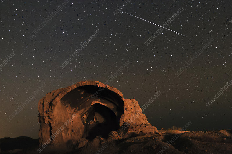 Night sky over ancient ruins, Iran