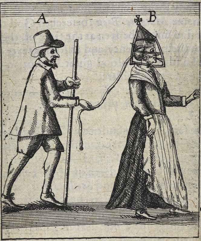 Man with a woman on a lead, illustration