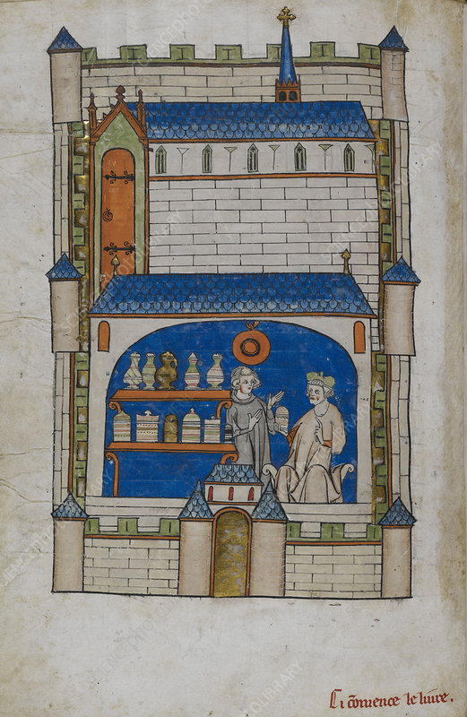 Apothecary shop, historical illustration