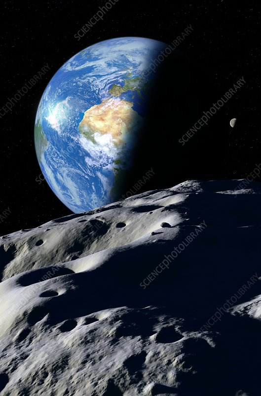 Earth and asteroid, illustration