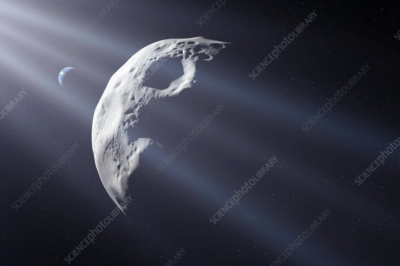 Asteroid approaching Earth, illustration