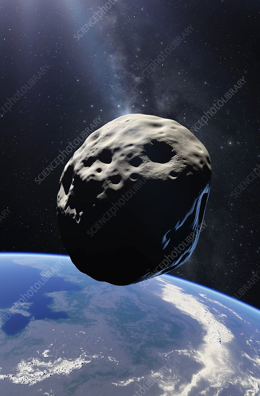 Asteroid passing Earth, illustration