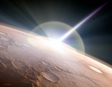 Comet colliding with Mars, illustration