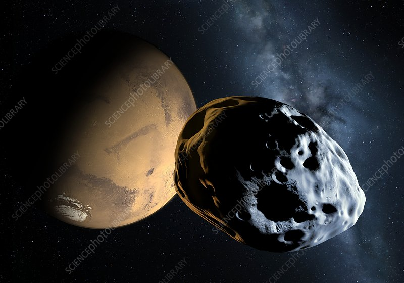 Asteroid approaching Mars, illustration