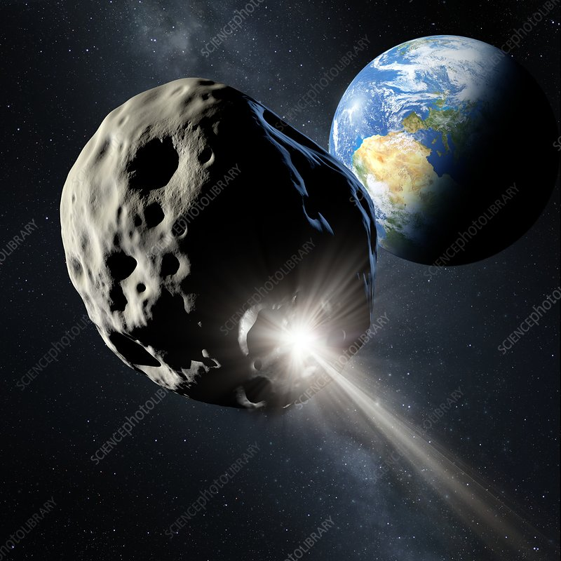 Spacecraft colliding with asteroid
