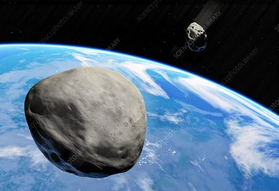 Asteroids approaching Earth, illustration