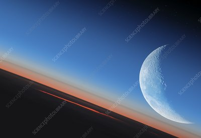 Earth and Moon from orbit, illustration