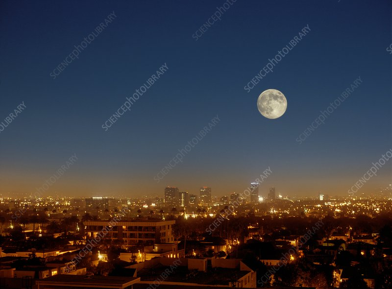 Moonrise over Los Angeles, USA