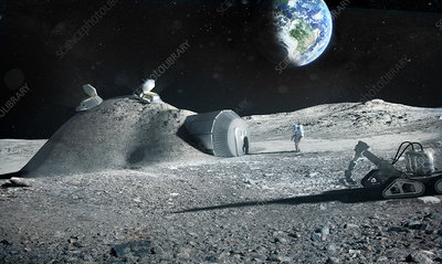 3D printed lunar base, illustration