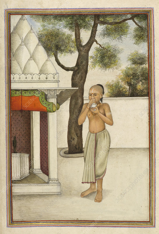 Brahmin blowing conch shell, illustration