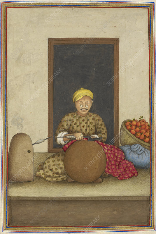 Indian embroiderer, illustration