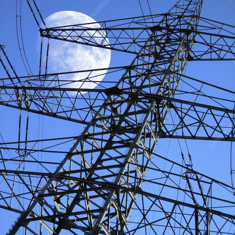 Moon behind electricity pylons