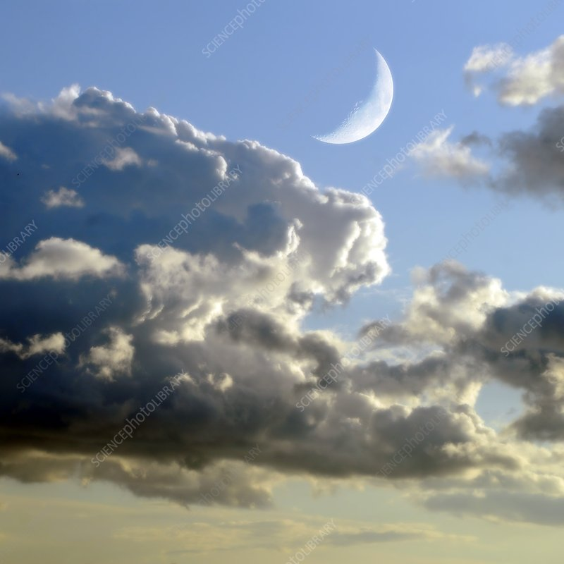 Crescent Moon in cloudy sky