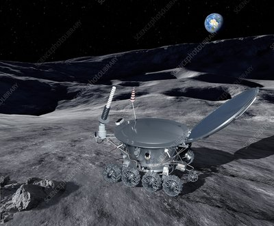 Lunokhod 1 on the Moon, illustration
