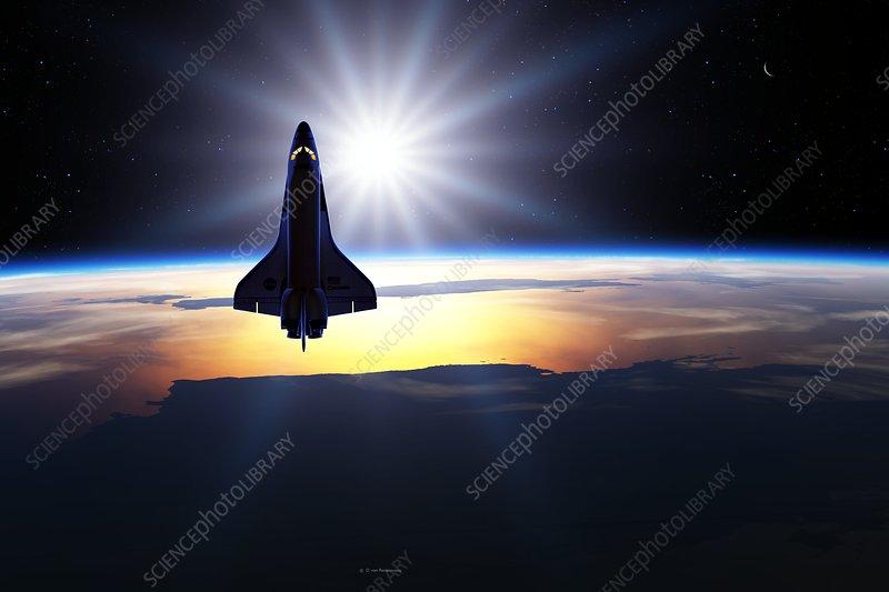 Space shuttle in orbit, illustration