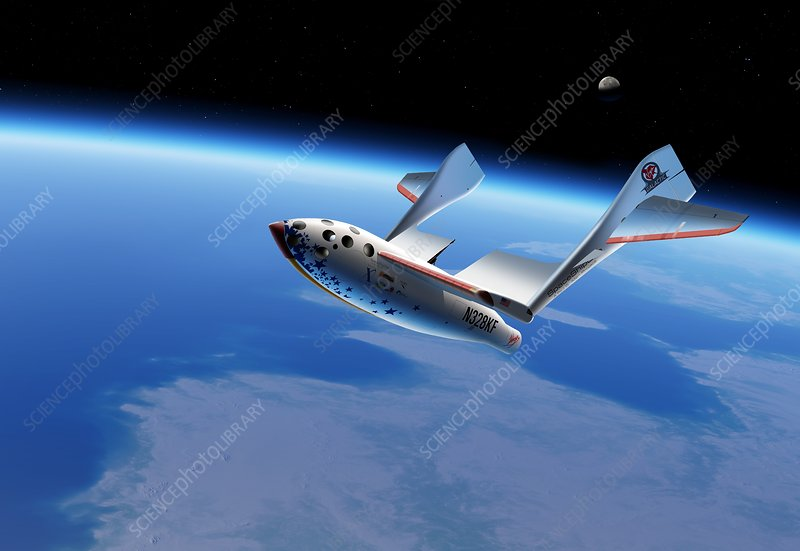 SpaceShipOne in orbit, illustration