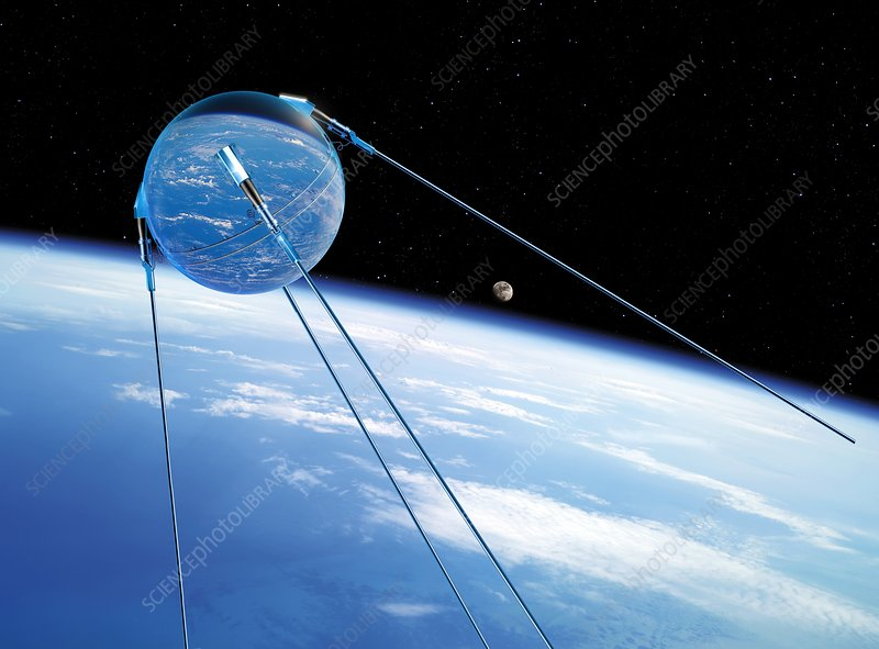 Sputnik 1 in orbit, illustration
