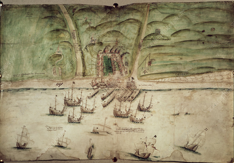 French ships attacking Brighton, 1514