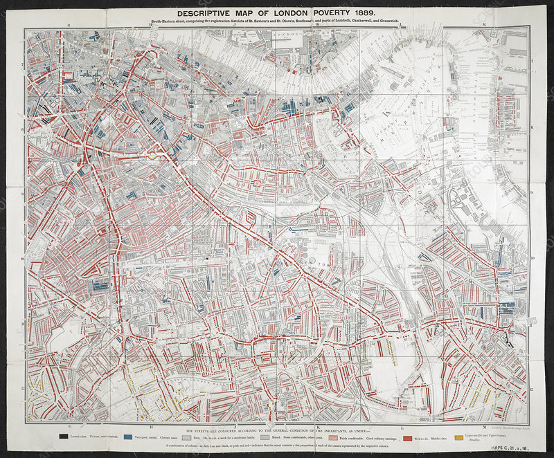 19th century poverty map of London, UK