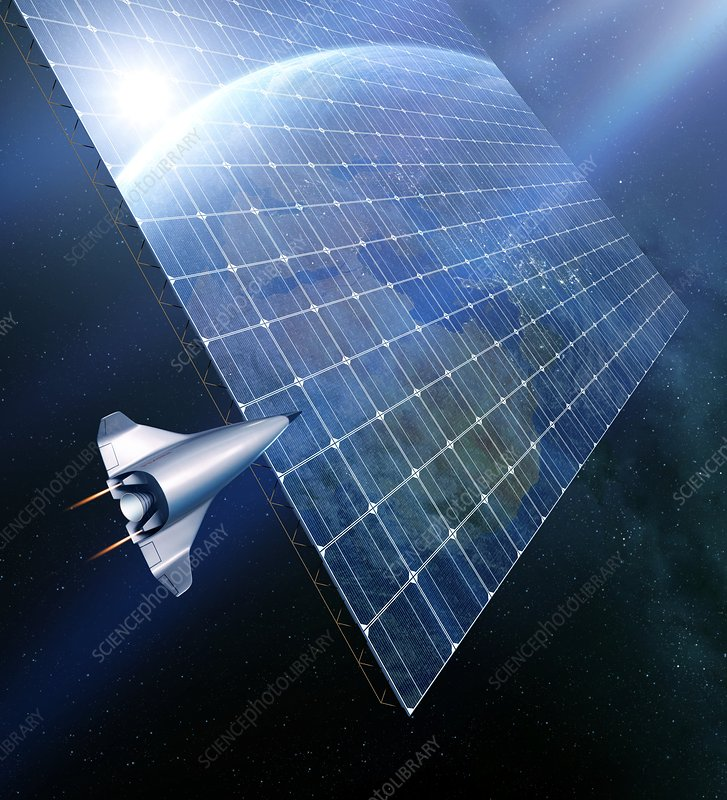 Space solar power station, illustration