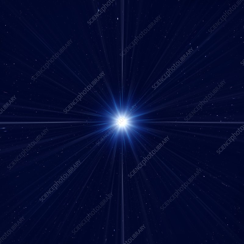Bright star in space, illustration