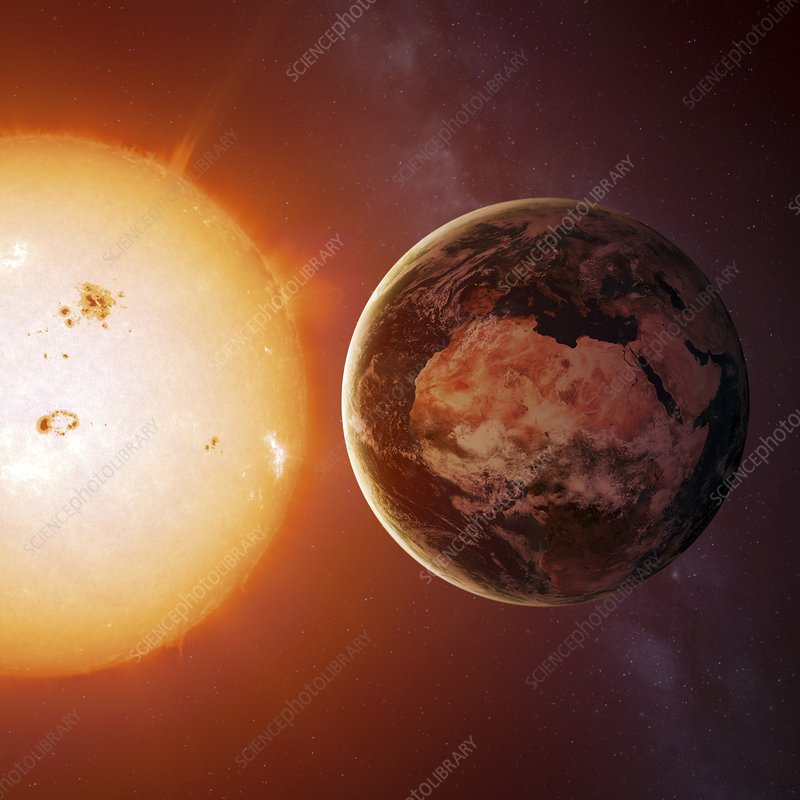 Sun and earth from space, illustration