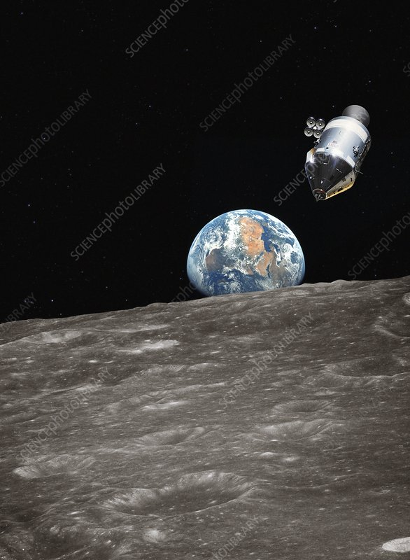 Apollo spacecraft in orbit, illustration