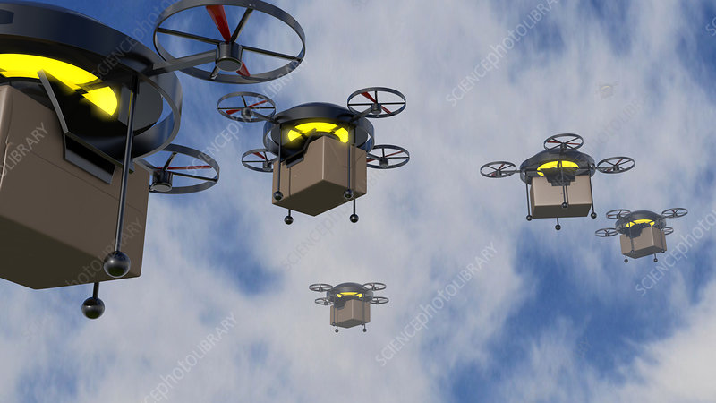Delivery drones, illustration