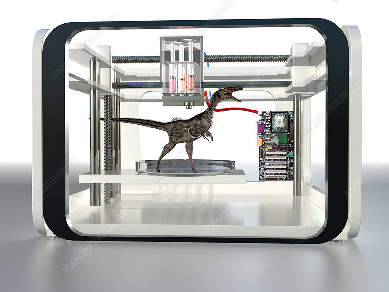 3D printed dinosaur, conceptual image