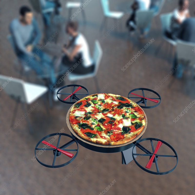Food delivery drone, conceptual image