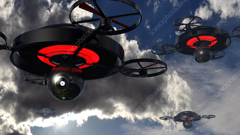 Security drones, illustration