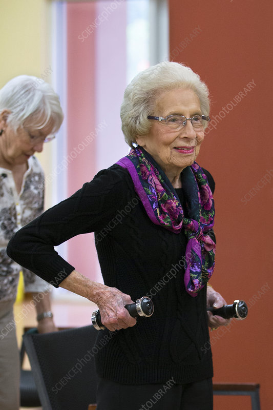 Active elderly lady exercising