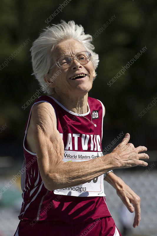 Joyful senior female athlete