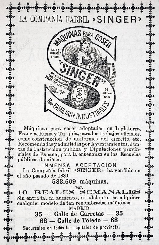 Advertisement For Singer Sewing Machines