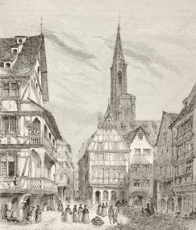 19th Century View Of Old Houses