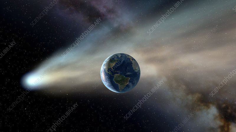Comet passing by the Earth, illustration