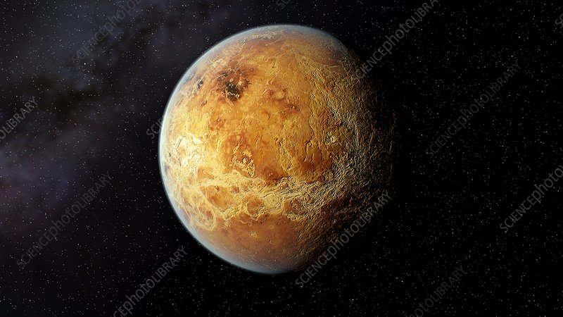 Venus and its rocky surface, illustration
