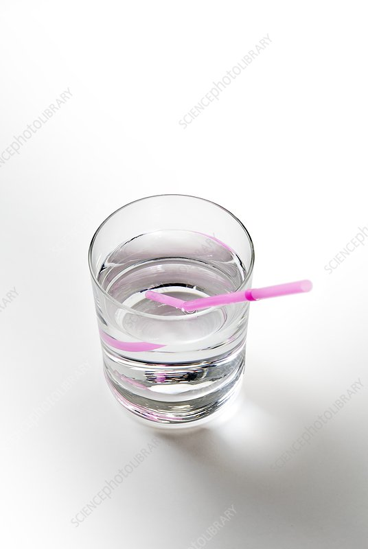 Glass of water with a straw