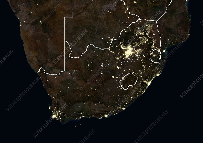 Southern Africa at night, satellite image