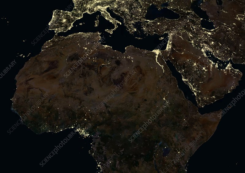 Africa, Middle East and Europe from space