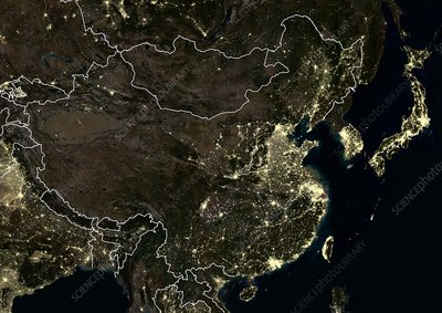 China at night, satellite image