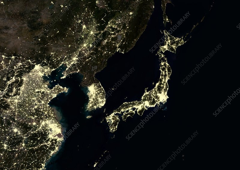 Japan and Korean Peninsula at night