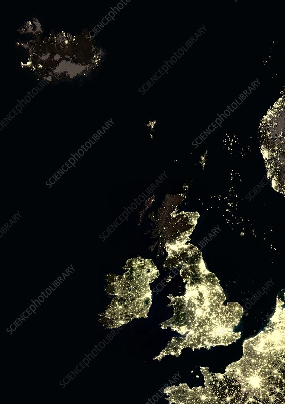 Iceland and British Isles at night