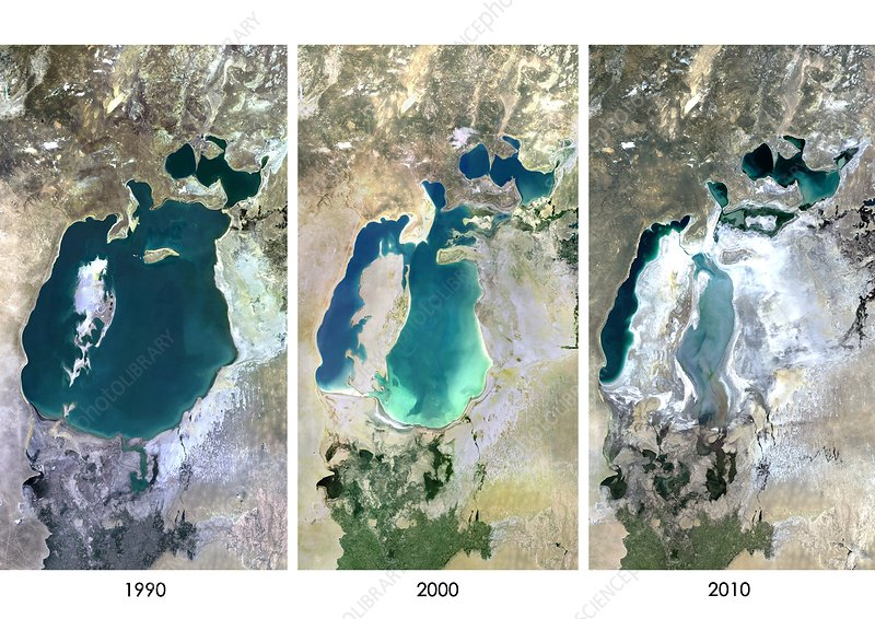 Aral Sea in 1990, 2000 and 2010