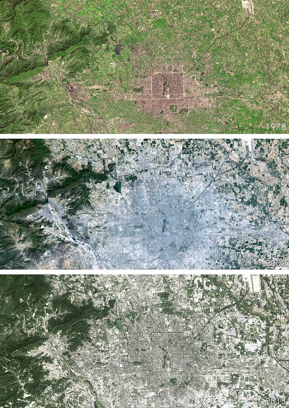 Beijing urban spread, satellite image