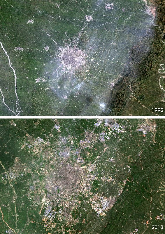 Chengdu urban spread, satellite image