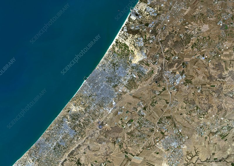 Gaza City, Palestine, satellite image