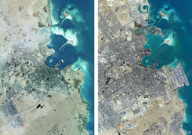 Doha urban spread, satellite image