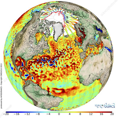 Sea level anomalies, satellite image
