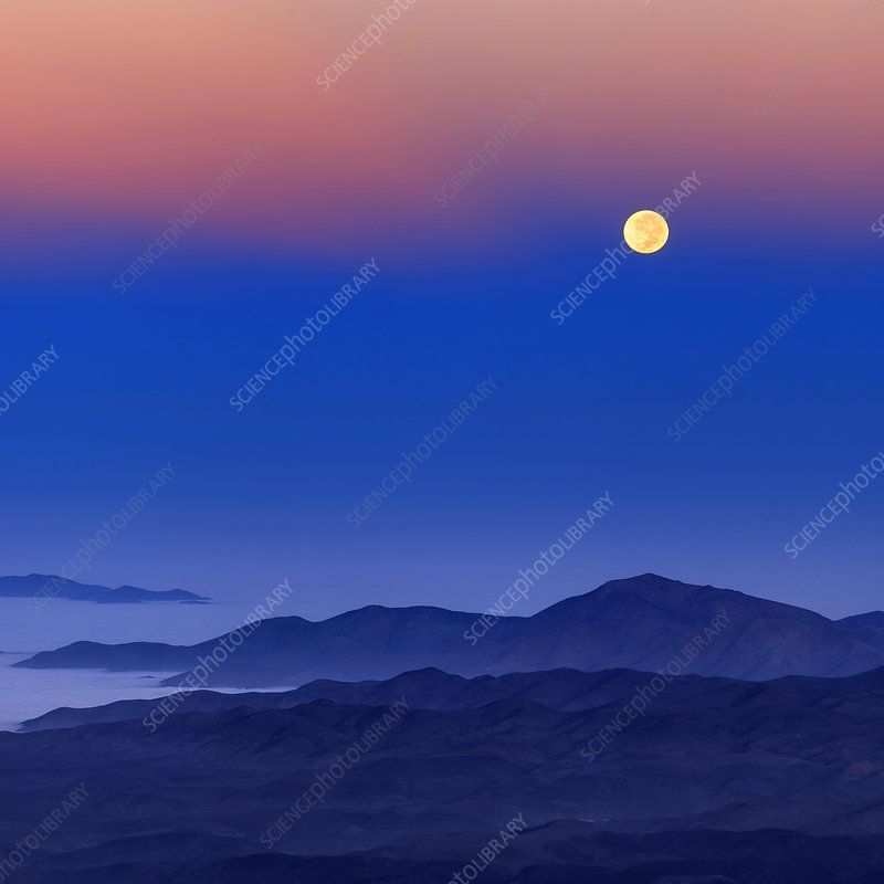 Full moon at dawn